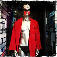 The man in red (Maurizio Zanetti - mauzzan) Tags: shopwindows iphone mauzan iphoneart iphoneography hipstamatic mauzzan mauriziozanetti