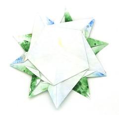 Fujimoto pentagon Rosette 34 back (Pliages et vagabondages) Tags: star origami rosette pentagon décoration déco étoile fujimoto pentagone