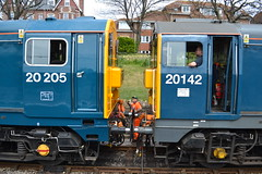 Class 20 - 20142 & 20205 (Will Swain) Tags: uk travel england west english heritage station train during diesel britain south transport may rail railway trains class southern vehicles vehicle preserved 20 railways 7th gala isle swanage purbeck 2016 20205 20142
