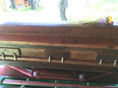 Grandpa's casket made from reclaimed barn board (RobotSkirts) Tags: barn casket grandpa funeral coffin barnboard