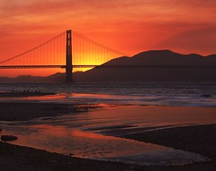 Inauspicious Charm (RZ68) Tags: bridge sunset sky orange color beach water pool field clouds fire gold golden evening bay sand gate san francisco waves smoke tide east burning velvia chrissy provia presidio scattering rz67 e100