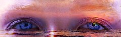 Of Clouds and Sunsets (World Through My Eyes) (Silvaflos) Tags: ocean pink blue sunset sea portrait sky cloud sun eye water girl clouds photoshop river freckles conceptual landskape