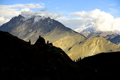 DSC3341 Waiting for sunset. (najeebmahmud) Tags: blue trees pakistan light sunset summer people snow mountains nature silhouette clouds landscape nikon north bluesky valley nikkor hunza 2470mm d810 nikond810 nikkor2470mm