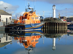 Kirkwall lifeboat (margaret Foster) (stuartcroy) Tags: blue sea sky reflection water beautiful weather island scotland still orkney scenery sony lifeboat kirkwall