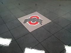 Ohio State-epoxy-tile (Decorative Concrete Kingdom) Tags: tile logo gray flake epoxy chip ohiostate