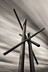 CHEVRON (2) (ceeenbee) Tags: monochrome topazdenoise topazbweffects envisionography sculpture publicart chicago johnhenry chevron