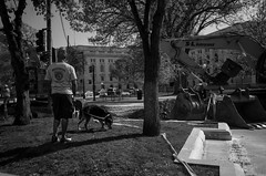 Capitol Square Construction (patrickkuhl) Tags: street people blackandwhite dog monochrome wisconsin square blackwhite shadows 28mm streetphotography capitol madison gr madisonwi ricoh ricohgr wisco wisc