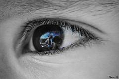A Black, white and BLUE eye (photoschete.blogspot.com) Tags: blue macro reflection eye azul canon ojo eos monocromo blackwhite sigma reflejo blanconegro desaturado 70d