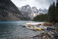 Moraine Lake (the underlord) Tags: canoe banffnationalpark morainelake canoedock voigtlandersuperwide15mm