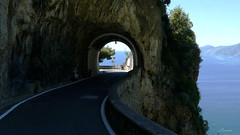 Road to Amalfi (lamnn92) Tags: tunnel amalfidrive amalfitana hairpinturn cliff praiano mountain sea casaangelina blue water sky travel panasonic fz1000