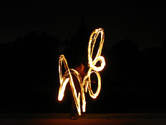 (Kelvin P. Coleman) Tags: canon powershot nottingham people performer fire spinning twirling performance arboretum afterhours night firespinning firetwirling fireperformance flame flaming staff longexposure light trails lighttrails outdoor