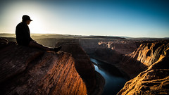 Horseshoe Bend - Page, United States - Color street photography (Giuseppe Milo (www.pixael.com)) Tags: natural calm print nature orange red summer contrast unitedstates outside photography sky bend wallart geotagged white photo woman tranquil prints landscape sunset river vacation landmark mountains view outdoor landscapes horseshoe scenic rocks candid sun blue photograph scenery beautiful page fineart horizontal canvas peaceful park outdoors travel depth mountain onsale faceless