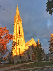 Perth church at sunset (shensicle) Tags: lanark ontario perth tower bell spire goldenhour flock stone church sunset
