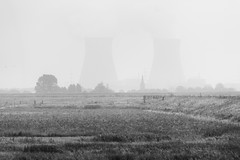The Two Towers (kceuppens) Tags: thetwotowers doel towers toren nuclear power plant nuclearpowerplant nikond700 nikon d700 nikon80400afs 80400 nikkor bw blackandwhite black white zwart wit zwartwit verdronkenlandvansaefthinge saefthinge landscape landschap outdoors outdoor outdoorphotography