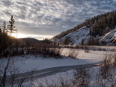 Winter in the wetlands (yukonchris) Tags: winter snow canada cold ice nature beauty landscape outside frozen stream north wideangle hills yukon willow wetlands hillside northern whitehorse genre borealforest northof60 southernyukon deepcold olympuse30 zuiko918mm