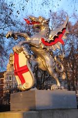 Dragon at the entrance to the City of London (ec1jack) Tags: uk winter england london thames river europe december dragon britain entrance riverthames cityoflondon 2014 kierankelly ec1jack canoneos600d