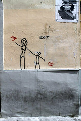 Exit, Street Art, Florence (corena102) Tags: street family italy streetart money art love broken female nude fly florence artwork italian holding hands italia child heart euro away firenze choice exit decision resistance difficulties