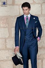 Italian blue fil a fil wedding morning suit 1212 Ottavio Nuccio Gala (CMGala) Tags: wedding red groom suits label collection gentleman