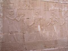 Deir el-Haggar Temple, Titus offering land to Amun, Khonsu, and Mut (dr.heatherleemccarthy) Tags: sculpture monument stone writing temple roman stonework egypt relief oasis emperor hieroglyphs deities titus thoth dakhleh