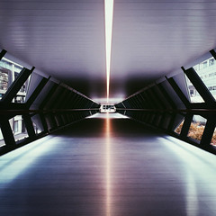 Transit (Olly Denton) Tags: uk 6 london apple lines architecture modern digital lights view perspective tunnel canarywharf ios iphone vanishingpoints crossrail vsco iphone6 vscocam vscolondon adamsplazabridge