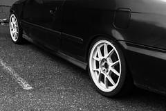 Honda Civic Wheels (pillarsoflight) Tags: white black beauty oregon 35mm honda portland prime grey restaurant aperture nikon space parking adobe civic pdx 18 pnw coupe parkingspace lightroom d3300