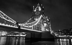 Tower Bridge at night (DncnH) Tags: bridge london monochrome thames towerbridge river blackwhite