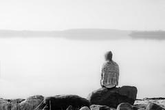 lonely girl by the sea (lewen_photography) Tags: girl sunrise landscape nebel balticsea landschaft ostsee einsam sehnsucht flensburg ochseninseln sonnaufgang