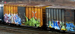 - saint - omex - loyr (timetomakethepasta) Tags: saint by booyah omex loyr sluts freight train graffiti boxcar rail box hs