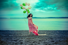 The Four Seasons - Spring (jajasgarden) Tags: seattle pink sunset portrait sky lighthouse beach nature girl beauty fashion clouds balloons landscape happy dance spring model nikon colorful seasons dress photoshoot outdoor vibrant fineart creative windy fantasy dreamscape d810