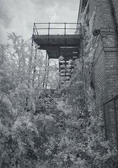 Derelexit 2 (Infraredd) Tags: abandoned overgrown decay empty ruin spooky hidden infrared fireescape disused johnpilkington