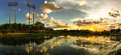 iphone panorama (Yi-Liang Lai) Tags: park sunset sky panorama sun reflection water sunshine clouds reflections farm taiwan panoramic kaohsiung  tw iphone      kaohsiungcity  iphoneography