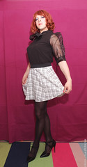Black blouse 1 (eileen_cd) Tags: redhead bow transvestite cd tv crossdresser blackblouse highheels tights miniskirt