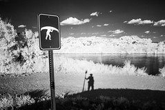 in search of the hammerhead yeti (johngpt) Tags: shadow newmexico water sign clouds self albuquerque bosque yeti alameda launchpoint riogrande hammerhead infraredfilter hoyar72irfilter fujifilmfinepixx100 wclwideconversionlens
