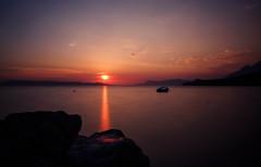 Sunset beam (densshod) Tags: sunset contrast clouds color croatia outdoor olympus ocean nd longexposure light landscape lines sky summer sun sunlight sea coast shore