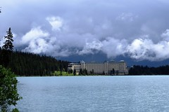 Stormy (Patricia Henschen) Tags: banff banffnationalpark parks parcs canada alberta lakelouise thefairmont chateaulakelouise hotel lake clouds mountains canadian rockies northern rockymountains lakeshore trail