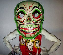 Green Grinning Skull Mask And Plastic Man Costume 6291 (Brechtbug) Tags: green grinning skull mask halloween semi vintage with regular sized uncle sam box ben cooper collegeville halco ghoulsville retro newspaper sunday funnies comics holiday costume comic strip book comicbook spy movie film cinema americana america freedom justice super hero spooky jumbo size