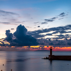 Sunrise:Fishing (BazM:Photog.......:-)) Tags: sunrise bastia bazmatthews quirky clouds cloud harbour dock paleblue france lighthouse earlymorning morning firstthing firstlight square colour squarecolour corsica fishing fisherman angling angler