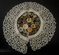 Buttons de luxe (frankmh) Tags: button lace needlepoint hittarp sweden indoor