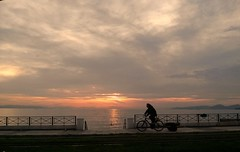 day leaving Faliro (Athens) (spicros78) Tags: street camera sunset car bicycle mobile night clouds swimming phone capture lgd605 explorefaliroathensgreececlouds