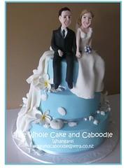 ..something blue (The Whole Cake and Caboodle ( lisa )) Tags: blue wedding sea shells cakes cake ben wendy drapes whangarei caboodle thewholecakeandcaboodle weddingcakeswhangarei