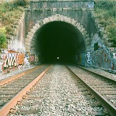 tunnel (eb78) Tags: sf sanfrancisco california ca railroad mamiya film mediumformat caltrain tracks tunnel urbanexploration bayview mamiya6 ue urbex ektar ektar100