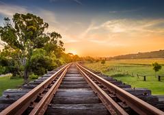Railway Track (Tam Church) Tags: new sunset sun set wales train canon way gold iron track south rail railway australia explore newsouthwales express 1740 6d 1740l clunes tamchurch