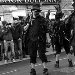 The Witchmen.  Whittlesea Straw Bear Festival 2015 (Trojan_Llama) Tags: england bw white black english film festival mediumformat dancers dancing folk traditional bronica morris ilford sqa pagan hp5plus whittlesea whittlesey strawbear