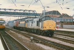 "Unbranded Class 37/5, 37679, Transrail 'Dutch' Class 56, 56049 & EWS Class 37/7,  37718 (37190 ""Dalzell"") Tags: tractor dutch grid heavyweight growler doncaster bigt ews class37 unbranded class56 class375 class377 37679 37718 triplegrey civilengineers maroongold transrail trainloadfreight englishwelshscottishrailway 56049"