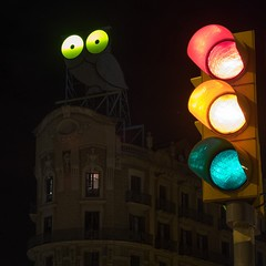 buho #owl #barcelona #mallorca #diagonal #pgsantjoan... (Jose Mrquez) Tags: barcelona longexposure night trafficlight streetlight diagonal owl semaforo mallorca rotulos buho roura pgsantjoan igersbcn lazyshutter uploaded:by=flickstagram instagram:photo=858162744714927428295818398