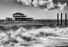 Destroyed-by-Fire-and-Storms (petefoto) Tags: seascape heritage water fire windy spray filters storms brightonpier nikond700 bwpolariser bwnd106 lee09sgrad