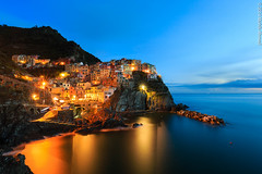 Manarola, Cinque Terre (Mohib Ahmad) Tags: nightphotography sunset italy canon europe cinqueterre bluehour manarola mediterraneansea 2014 canon6d mohibahmad