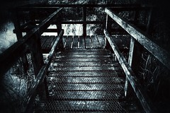 Don't slip (Nigel Hannant) Tags: blackandwhite bw monochrome lines dark boards wire university noir darkness mesh grim edited sony uea norfolk creative east dont norwich slip anglia snapseed