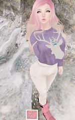 winter knit (kittylovell) Tags: life pink winter woman snow cute sexy girl lady female colorful purple mesh sweet olive adorable knit deer sl secondlife kawaii second su mizu reign tsg pixicat