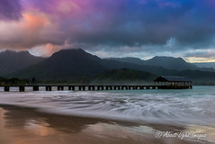 Hanalei Bay Sunrise (About Light Images Photography) Tags: ocean longexposure red mist mountains nature clouds sunrise reflections hawaii landscapes pier seascapes kauai tropical hanaleibay